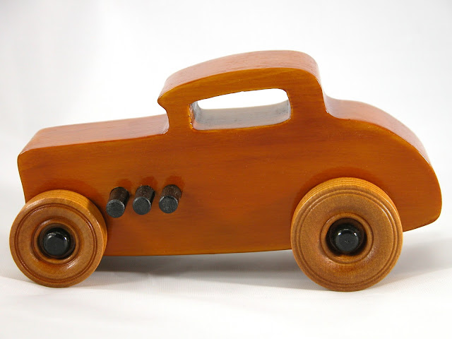 Left Side - Wood Toy Cars - Wooden Cars - Wood Toys - Wooden Car - Wood Toy Car - Hot Rod - 1932 Ford - 32 Deuce Coupe - Little Deuce Coupe - Roadster - Race Car