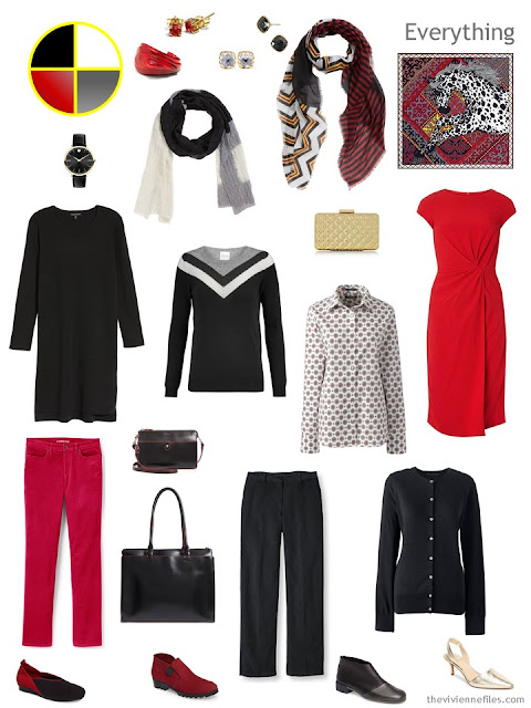 travel capsule wardrobe in black, grey and red