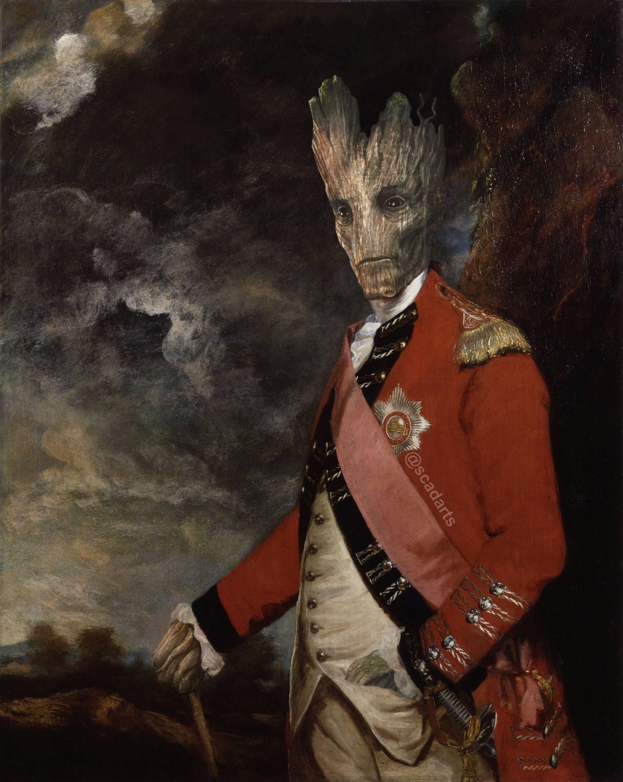 I am Groot : 1768年に開校したイギリス王立芸術院の初代校長をつとめた画家の故ジョシュア・レノルズが、同時期に軍隊で活躍していたグルート准将を描いた歴史的価値のある肖像画😄