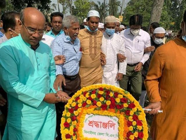 সাবেক মন্ত্রী তরিকুল ইসলামের কবরে ফুল দিয়ে শ্রদ্ধা নিবেদন করেন ঝিনাইদহ জেলা বিএনপি