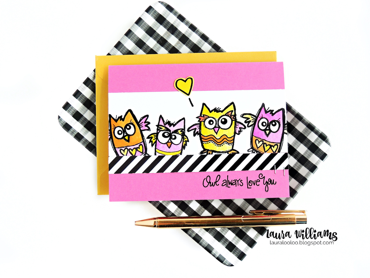 Make a handmade cards using these clear owl stamps from Impression Obsession, called Who Loves You. Add funky colors of watercolor to make these owls really ready to party! #handmadecards #cardmaking #stamping
