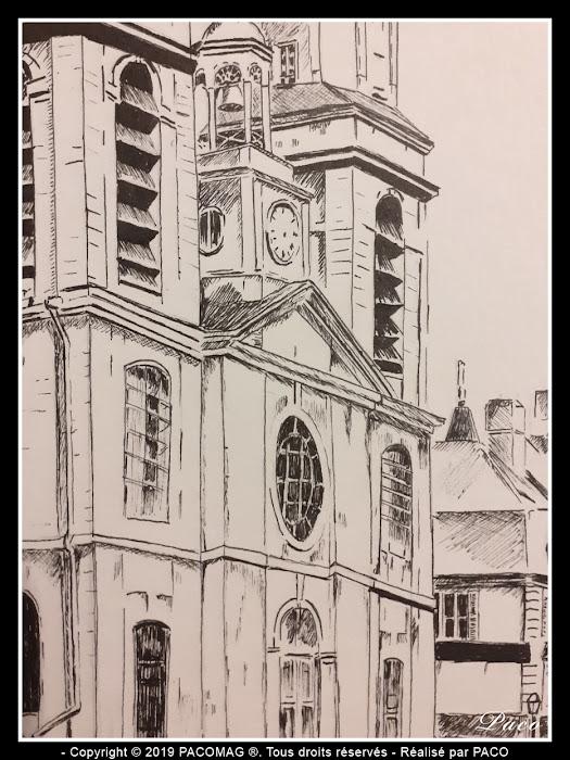 dessin au trait de l'église Saint-Charles de Sedan dessinée par paco
