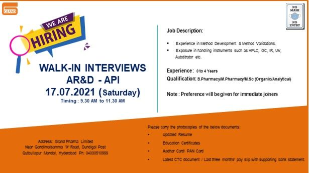 Gland Pharma   Walk-in for Freshers and Expd in AR&D on 17th Jul 2021