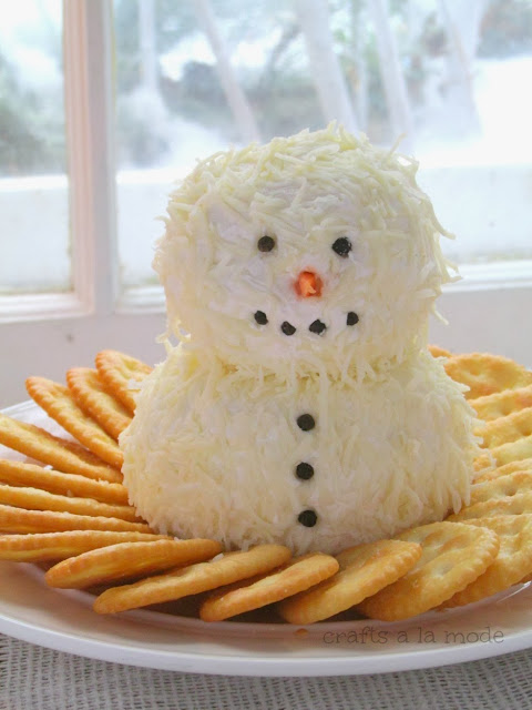 snowman made from cream cheese