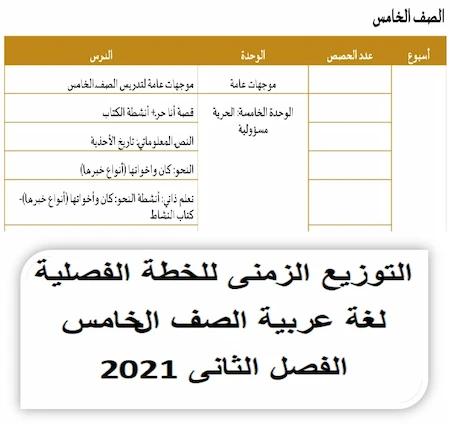 التوزيع الزمنى للخطة الفصلية لغة عربية الصف الخامس الفصل الثانى 2021