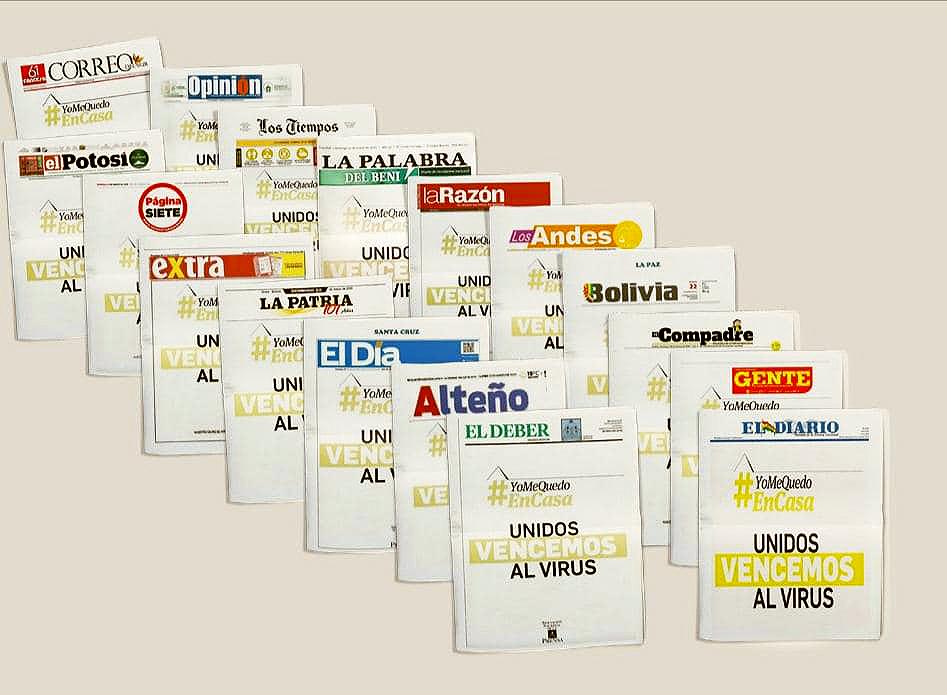 Portadas de los diarios en Bolivia este domingo de cuarentena / ANP