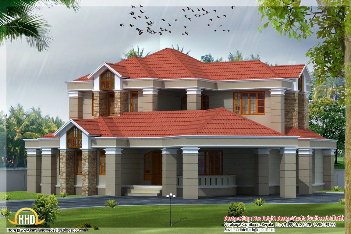 4 different style india house elevations kerala home for Kerala home design flat roof elevation