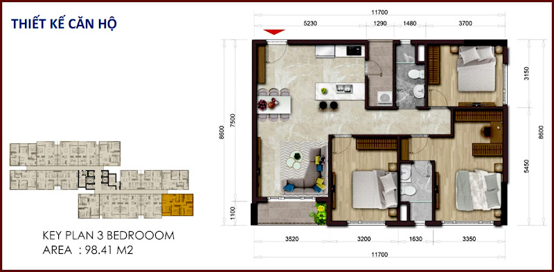 Thiết kế căn hộ 98.41m2 Mizuki Park