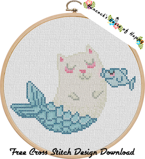 purrmaid cat mermaid cross stitch pattern free to download