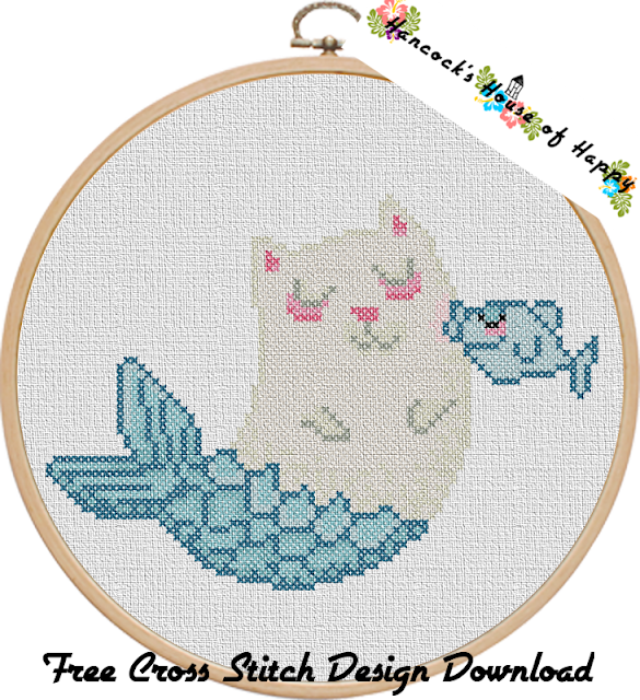 Free Mermaid Cross Stitch Pattern. Purrmaid Kawaii Cross Stitch to Download.