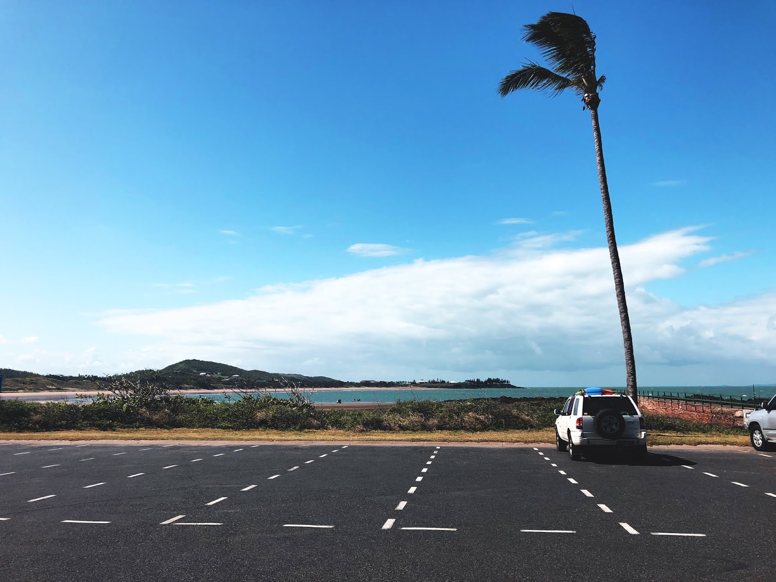 Car, palm and beach in Yeppoon