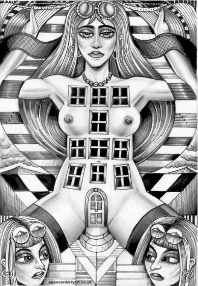 Surrealistic Erotic Female Nude Figurative Art Drawing