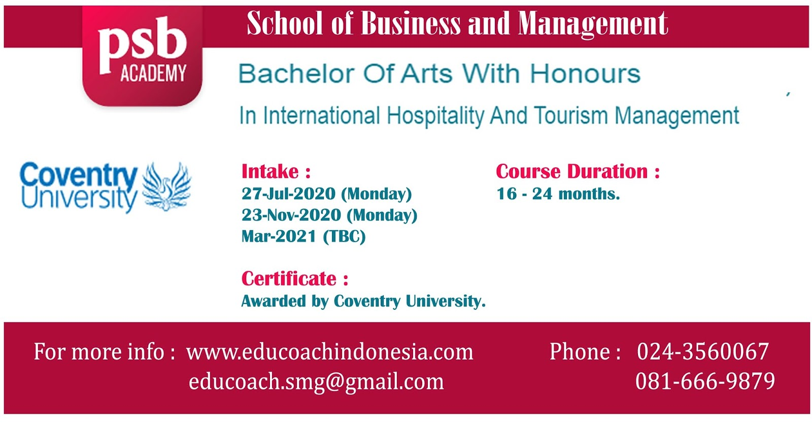 Bachelor Of Arts With Honours In International Hospitality And Tourism Management | University of Coventry | PSB Academy Singapura