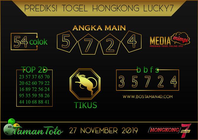 Prediksi Togel HONGKONG LUCKY 7 TAMAN TOTO 27 NOVEMBER 2019