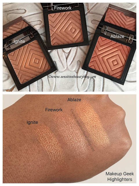 Makeup Geek Highlighters swatches on dark skin (Ignite, Firework, Ablaze)