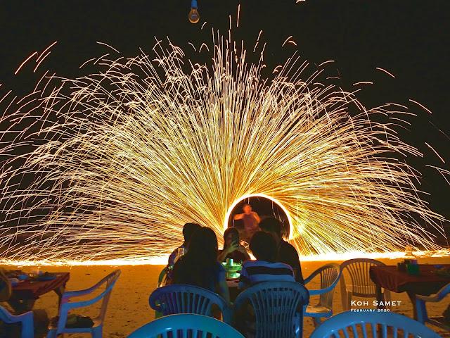 Samet island, fire show