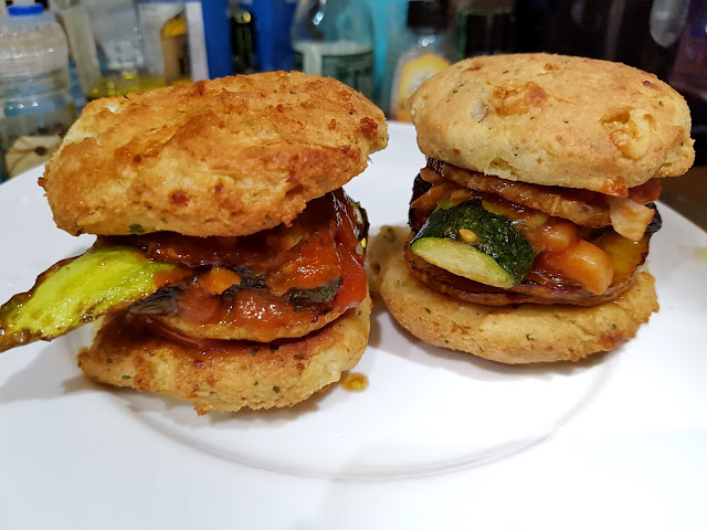 Butternut Squash Burgers  mushroom and butternut squash discs, courgette slices, spring onions, tomato passata and diced garlic