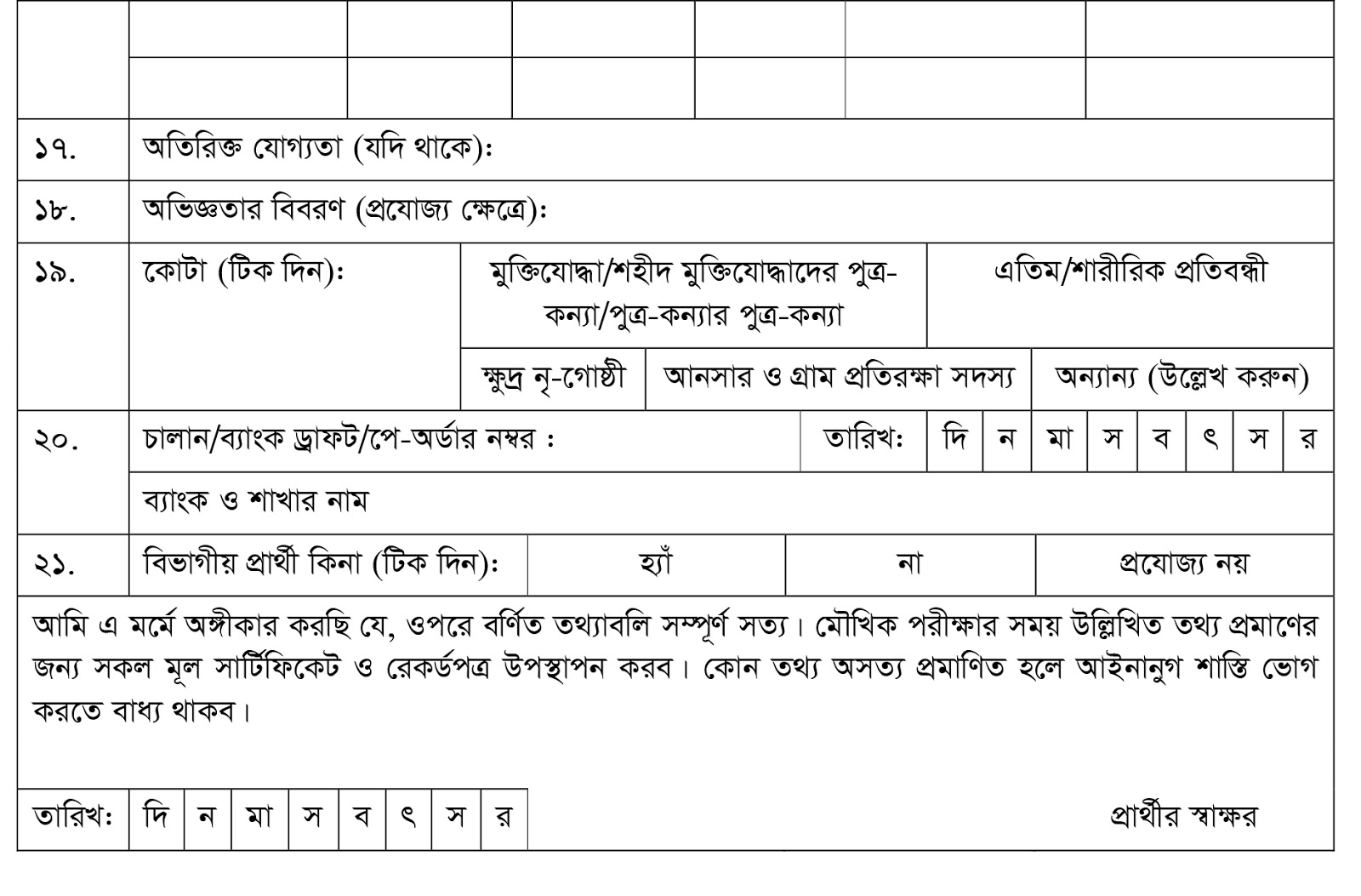 Dhaka Integrated Traffice Managment Project (DITMP) Job Application Form