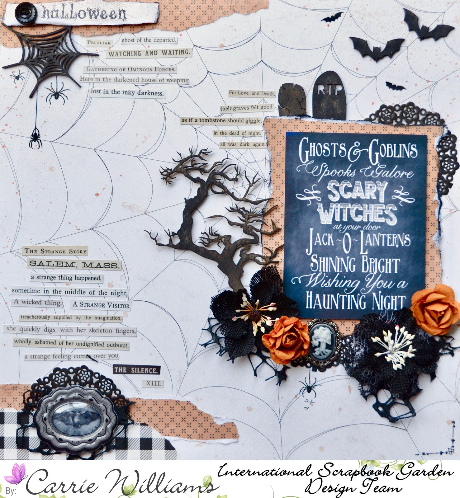 Halloween Autumn scrapbooking layout in white, orange, and black with Tim Holtz phrase stickers, Martha Stewart Halloween stickers, Creative Embellishments chipboard spiderwebs, bats, creepy tree, skeleton cameo with orange flowers and tattered black Petaloo flowers
