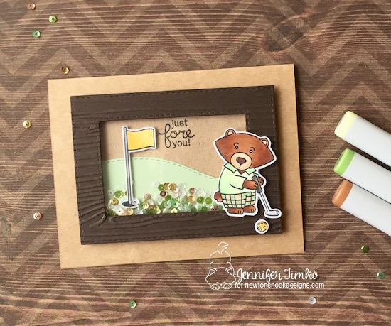Golf Card by Jennifer Timko |  Winston's Tee Time | Golfing Bear Stamp set by Newton's Nook Designs
