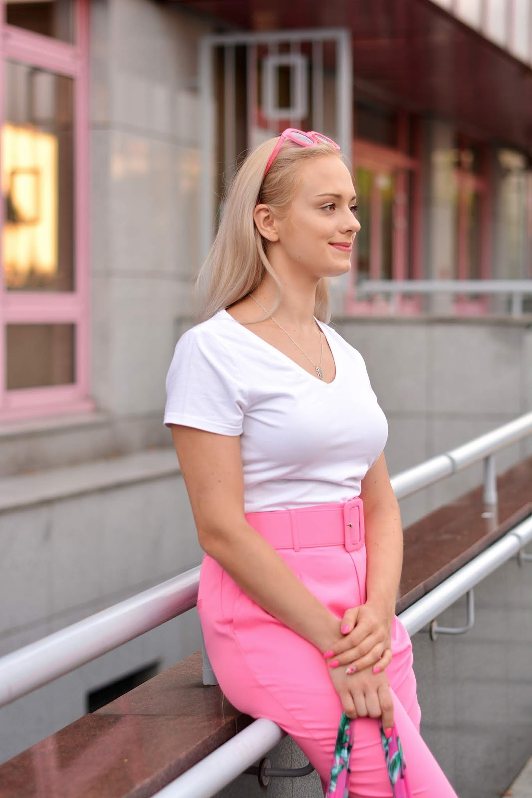Neon Pink Belted Tapered Trousers