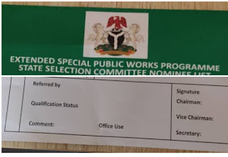 NDE Recruitment Form Extended Special Public Works Programme State Selection Nominee List