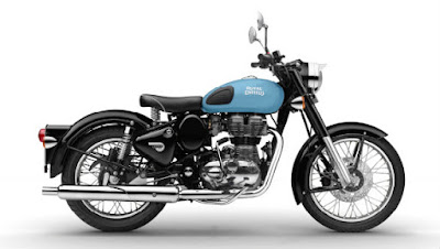 New Royal Enfild classic 350 Redditch Blue side angle image