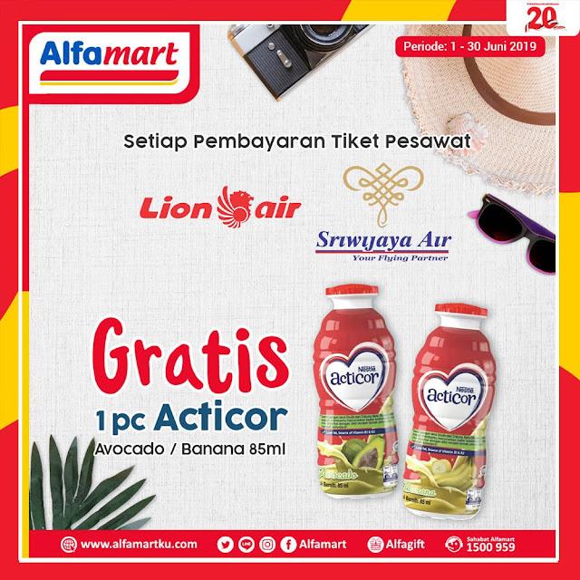 #Alfamart - #Promo Bayar Tiket Pesawat LionAir & Sriwijaya Gratis 1 PC Acticor (s.d 30 Juni 2019)
