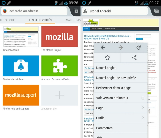 Navigateur Firefox pour Android