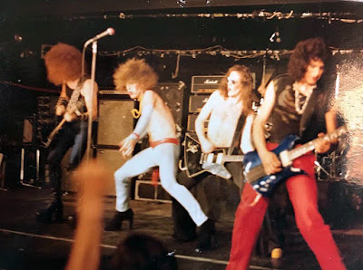 Twisted Sister on stage at Speaks 1979 in Island Park, Long Island, New York