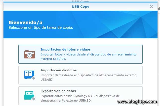 USB Copy DiskStation Manager