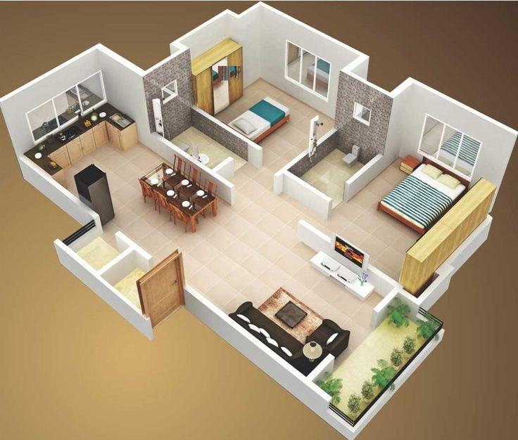 Ilustrasi Desain Rumah Petak 2 Kamar Tidur dengan Dapur