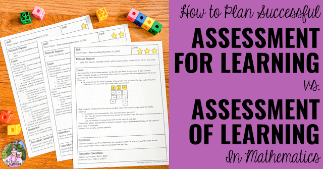 "Photo of math lessons. ""How to Plan Successful Assessment For Learning vs. Assessment Of Learning in Math."""