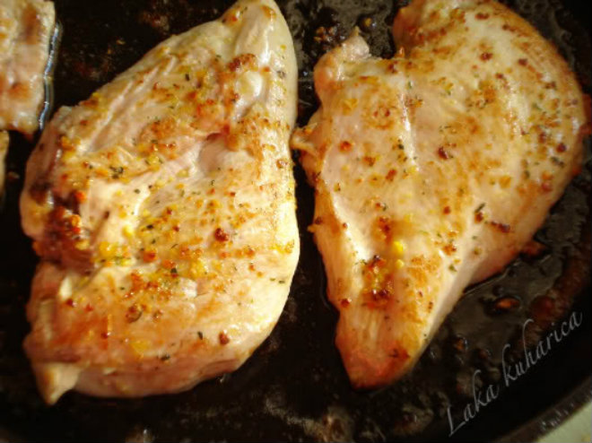 chicken fillet in hot butter