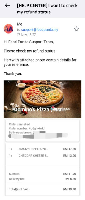 foodpanda money refund