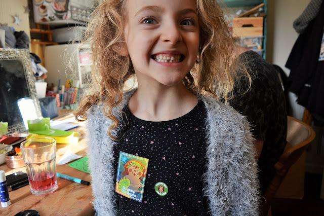 Molly wearing her Weekend Box sticker.
