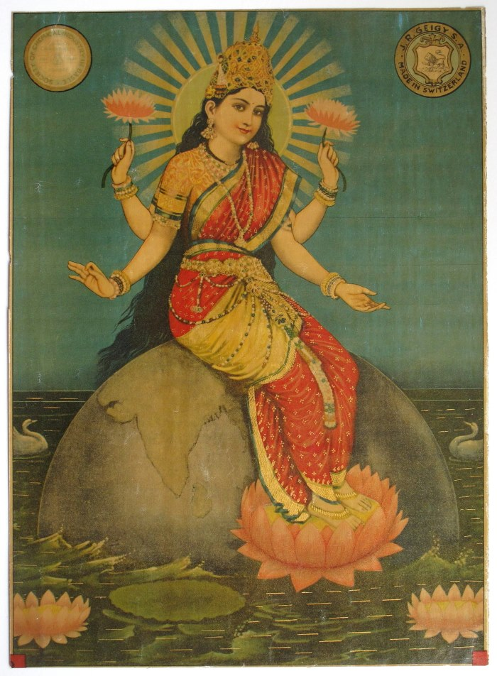 Indian Goddess (Probably Bhumi Devi) Sitting on Earth - Vintage Indian Print