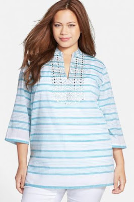 MICHAEL Michael Kors 'Deep Sea Stripe' Studded Cotton Voile Tunic (Plus Size)