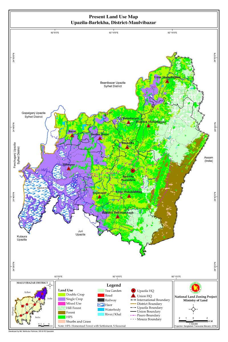 Barlekha Upazila Mouza Map Moulvibazar District Bangladesh