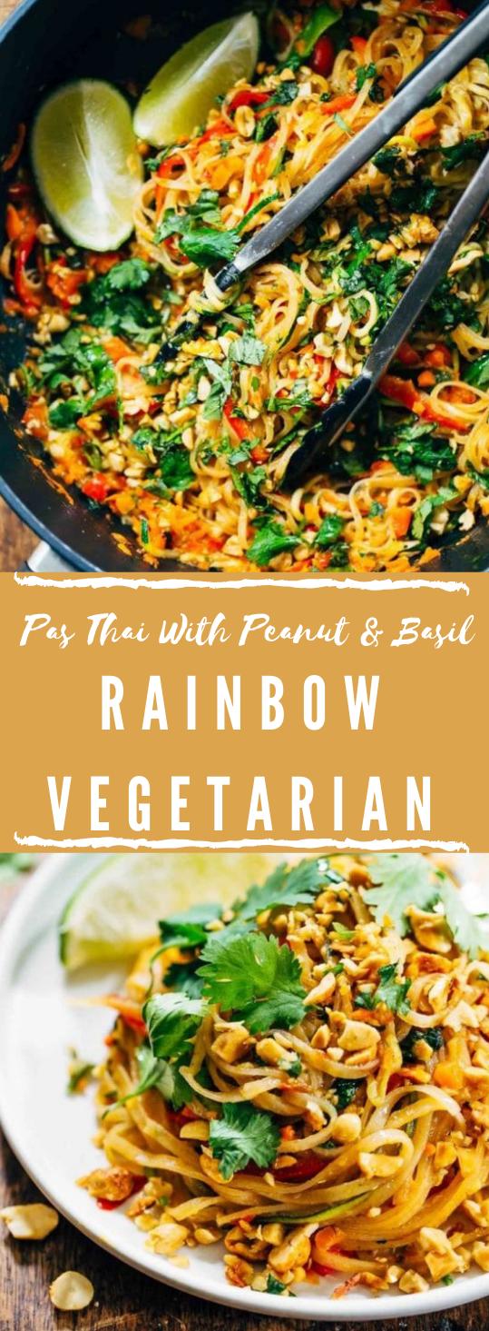 Rainbow Vegetarian Pad Thai with Peanuts and Basil #vegetarian #vegan #dinner #noodle #salad