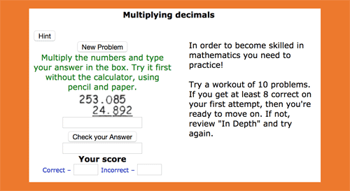 Multiplying decimals online activities