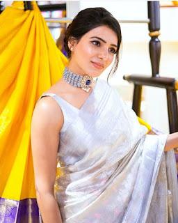 Samantha Akkineni (HD) in Golden silk saree looking gorgeous @ Mugdha Flagship Store Launch Navel Queens