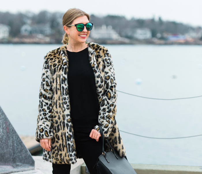 Leopard coat styling