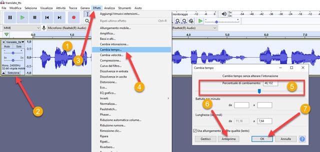 cambiare il tempo file audio audacity
