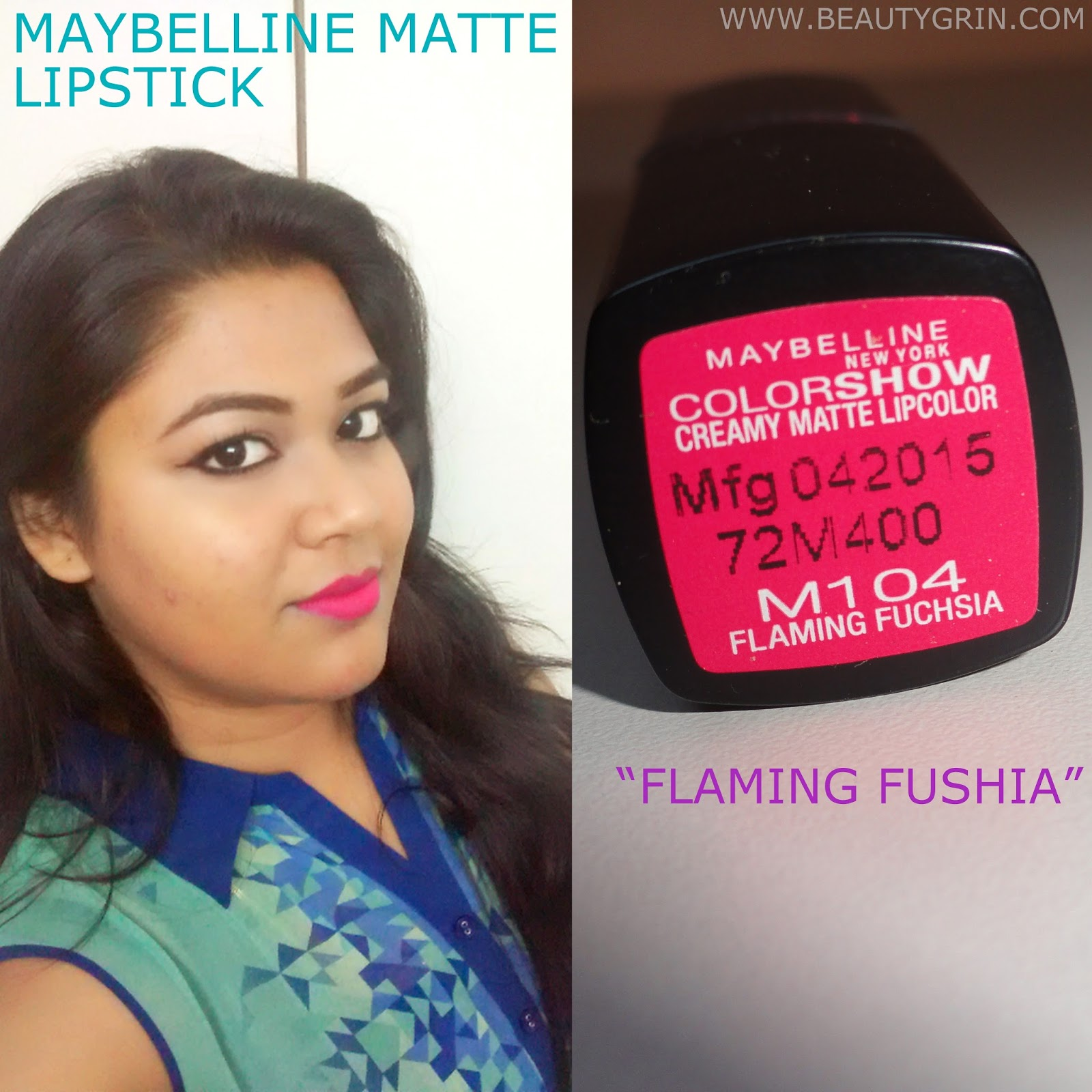 0ab41a7a9 Maybelline Color Show Matte Lipstick in Flaming Fushia M104  Review ...