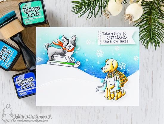 Winter Dogs Card by Tatiana Trafimovich | Winter Woofs Dog Stamp set by Newton's Nook Designs #newtonsnook