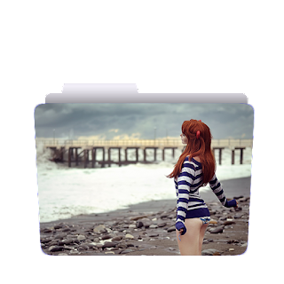 Preview of cute girl, blue and white, dress, river, bridge