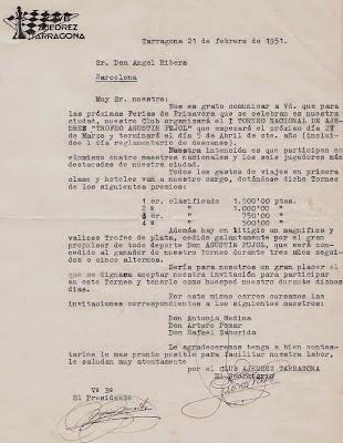 Invitación a Ángel Ribera al I Torneo Nacional Agustín Pujol, 1951