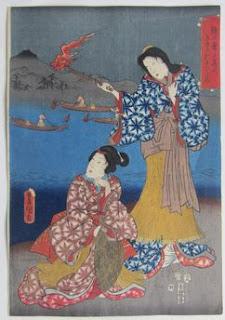 三代豊国 鵜の声に篝火きゆるおもひかな(鵜飼の図) 浮世版画販売買取鑑定ぎゃらりーおおの
