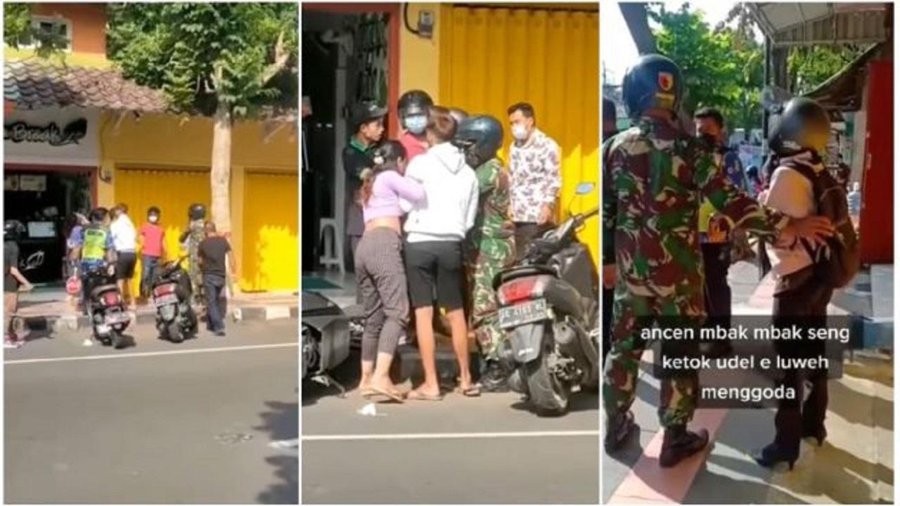 Viral Dua Wanita Adu Pukul Perebutkan Lelaki, TNI Sampai Ikut Melerai